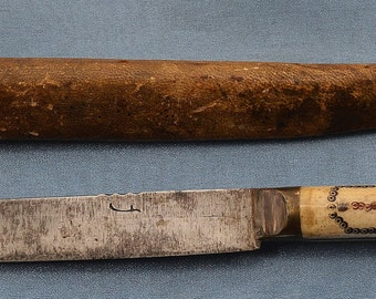 18th Century Bone Handle Whaling Knife with Vellum Scabbard/Sheath