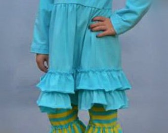 Monogrammed Blue/Yellow Ruffle Outfit