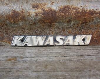 Vintage Emblem KAWASAKI Motorcycle Dirt Bike 1960s or 70s Era Badge Metal Auto Emblem Chrome Gift Idea Stocking Stuffer Collectible vtg Old