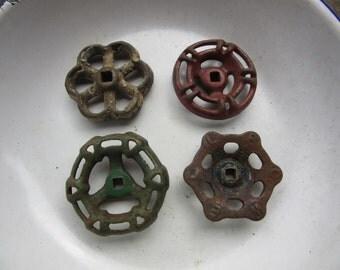 faucet knob handles, 4 valve handles, multi color, dresser handles, instant collection, old metal faucet, diy handle, industrial furniture