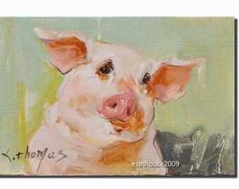 Western pig portrait Original oil Painting  on canvas panel 12CMX18CM