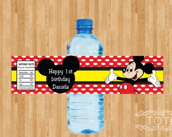 Personalized Mickey Mouse inspired Water bottle label