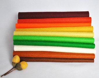 100 Percent Wool Felt Sheets - 'Harvest' colour range - 10 pieces