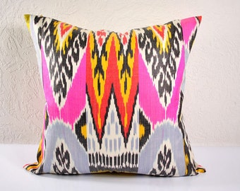 Ikat Pillow, Hand Woven Ikat Pillow Cover NPI101, Ikat throw pillows, Designer pillows, Decorative pillows, Accent pillows