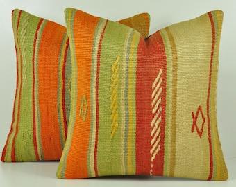 Set of 2 Kilim Pillow Covers, skp12-40, Decorative Pillows, Kilim Pillow, Moroccan Pillow, Turkish Kilim, Bohemian Pillow, Turkish Pillow