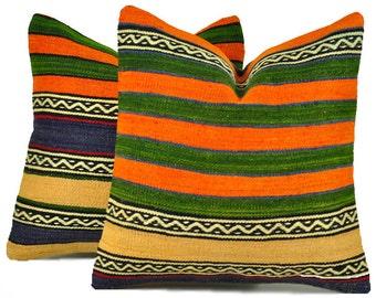 Set of 2 Kilim Pillow Covers, skp12-44, Decorative Pillows, Kilim Pillow, Moroccan Pillow, Turkish Kilim, Bohemian Pillow, Turkish Pillow