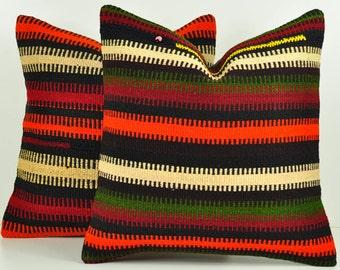 Set of 2 Kilim Pillow Covers, skp12-57, Decorative Pillows, Kilim Pillow, Moroccan Pillow, Turkish Kilim, Bohemian Pillow, Turkish Pillow
