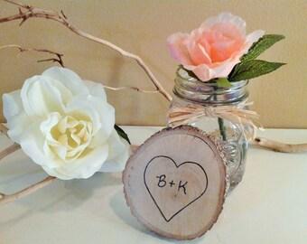 TREASURY ITEM -  10 Tree slices - Woodburned - Personalized wedding decor - Rustic weddings - Anniversary - Holidays