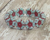 Blue Red Flower 12mm Bead Czech Glass Carved Turquoise Hawaiian PLUMBAGO (6)