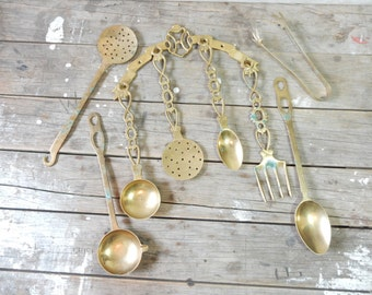 Brass Utensil Set, Hanging Spoons, Forks, Ladles and tong, 1980's,