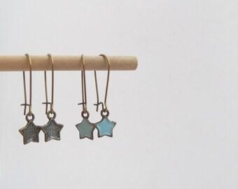 Purple Star Earrings - Antique Brass - Aubergine or Taupe Brown - Kidney Hook earrings
