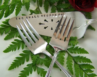 WEDDING CAKE SET, Personalized Cake Server and Matching Forks, Two Shall Become One, Vintage Sterling Silver Plated, Bouquet, 1924, Under 50
