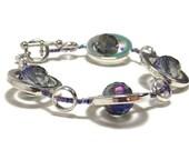 Beaded Bracelet - Women's Beadwork Bracelet - Silver Circles Strand Bracelet - Women's Jewelry - Gifts Under 25