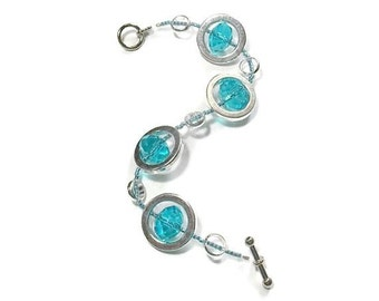 Turquoise Bracelet - Gifts Under 25 - Silver Circles Strand Bracelet - Women's Turquoise Bracelet