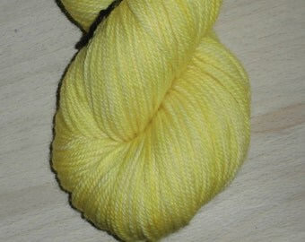 Lemon Yellow Superwash Merino Yarn - Hand Dyed Yarn - Lemon Yellow DK Yarn - Lemon Yellow Double Knit 3 Ply Yarn - Merino Wool - Handdyed DK