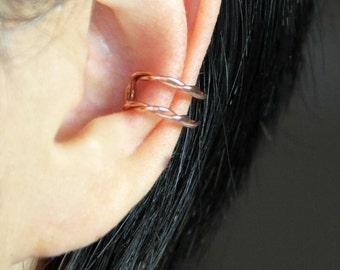 Simple twisted Copper bar ear cuff handmade US free shipping Anni Designs