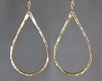 14k gold filled textured hammered big teardrop Earrings Bridesmaid gifts Free US Shipping handmade Anni designs