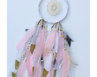 "6"" Pink Doily Feather Dreamcathcer"