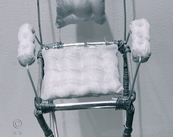 Wire display armchair for art dolls pedestal base. Very comfortable and tall.