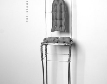 Industry wire Chair for dolls display base pedestal. Tall and elegant.