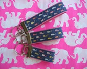 "Inspired vineyard vines nautical whale fabric keychain key fob key wristlet - 3"", 4"" or 5.25"" wristlet - Handmade"