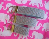 "Inspired Pink vineyard vines whale fabric on light blue webbing keychain key fob key wristlet - 3"", 4"" or 5.25"" wristlet - Handmade"