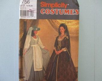 Historical Costume Simplicity Pattern Misses Renaissance Dress New 1997 Pattern New Uncut Sizes 16, 18, 20