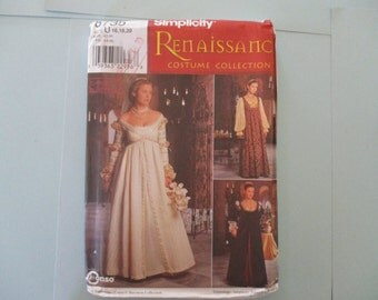 Historical Costume Simplicity Pattern Misses Renaissance Dress New 1999 Pattern New Uncut Sizes 16, 18, 20
