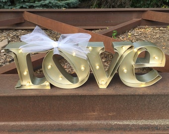 Gold Wedding / Marquee Love Sign /  lighted marquee sign / LOVE sign /  Rustic Wedding Sign / marquee letter
