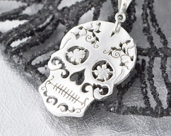 Sterling Silver Sugar Skull Pendant, Sugar Skull Jewelry, Sugar Skull Necklace, Halloween Jewelry, Day of the Dead Wedding, Halloween Sale