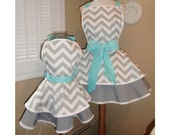 MamaMadison Mother and Daughter Matching Retro Apron Set in Chevron Print...Custom Order Your Sizes