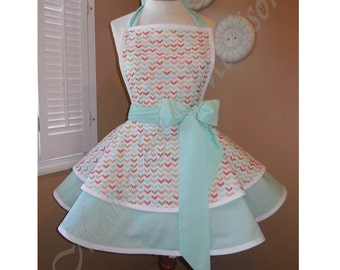 Chevron V Print Accented With Mint Green Woman's Retro Apron With Tiered Skirt And Bib