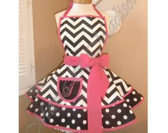 Chevron and Polka Dots Accented with Hot Pink Woman's Retro Apron, Featuring Custom Monogrammed Pocket