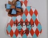 Pumpkin Door Hanger, Fall Door Hanger, Happy Fall Door Hanger, Fall Decor, Hand Painted Harlequin Print