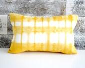 Goldenrod Yellow Shibori Pillow Cover 12x18 inches