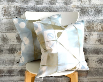 Two Pale Blue & Brown Shibori Pillow Covers 18x18 inches