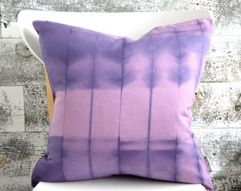 Contemporary Purple & Pink shibori pillow - Hydrangea