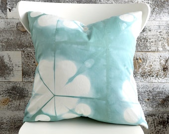 Blue Shibori Pillow Cover 18x18 inches - Sea Glass