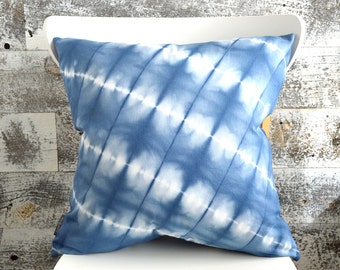 Navy Blue Shibori Pillow Cover 18x18 inches - Marine