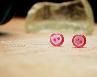 Simple Pink Button Earrings