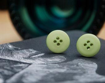Mint Green Button Earrings