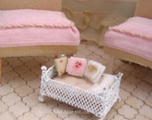 Miniature tiny iron bed for dolls