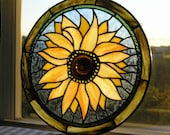 Stained Glass Art|Stained Glass Panel|Sunflower|Round Sunflower PanelStained Glass Sunflower|Glass|Yellow|Green|Blue|Handcrafted|Made in USA