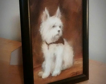 Westie Painting, original oil painting of white dog, West Highland Terrier Painting, dog painting