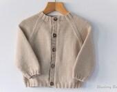 Hand Knit Baby Raglan Cardigan - Round Neck  - choose size/colour - luxury Cashmerino yarn, handmade baby clothes