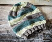 Luxury Striped Slouch Beanie Hat - Merino Wool/Cashmere - Graphite, Mallard, Mint - Choose Size - Adult, Children, Toddler, Baby
