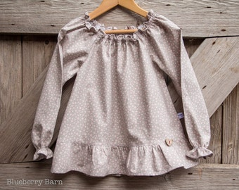 SALE - Girls Boho Chic Long Sleeve Peasant Blouse  - 100% Cotton Tilda Martine Grey - Age 4 Ready to Ship