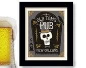 New Orleans Tombstone Zombie Art Beer Sign Bar Decor Skeleton Basement Bar  Art Poker Room Black Crow Pub Art Home Brewing Voodoo Doll
