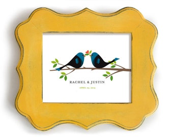 Love Bird Art Unique Engagement Gift Personalized Wedding Gift for Couples Bride and Groom Special Day Hearts and Flowers