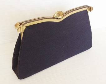 dark blue vegan vintage purse, dark blue 40s evening bag, elegant vintage clutch